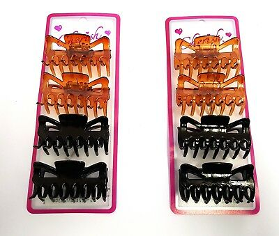8 x Black and Brown Ladies Large Hair Claw Clamps Clips Butterfly Claw Clam 6cm