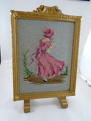 Antique Gilt Desk Top Stand Up Picture Frame With Victorian Lady Needlepoint
