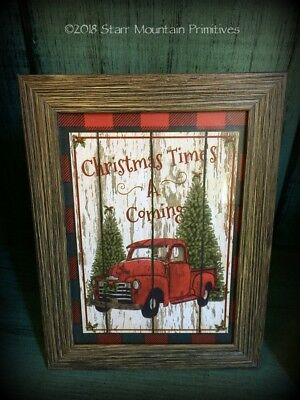 Primitive Rustic Country Christmas Vintage Red Truck Buffalo Check Framed Print
