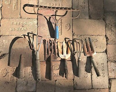 #4 LOT of Vintage garden hand tools wood metal rusty primitive used rake shovel