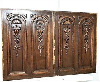 Pair gothic grapes panel Antique french hand carved wood architectural salvage