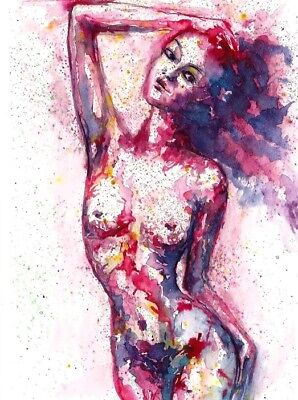 ACEO Original Nude painting abstract naked women fantasy art card signed
