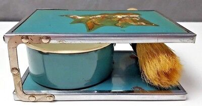 Enamel FOLDING SHAVING SET MALLARD DUCK FRONT MIRROR BOWL BRUSH VINTAGE 718-s24