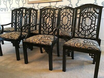 La Barge Glass Top Table with 8 Black Chippendale Chairs GORGEOUS! Like NEW!
