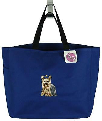 Yorkshire Terrier Yorkie Monogram Bag Blue Puppy Dog Red Bow Pet Tote Gift NWT!