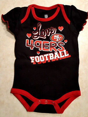 75db473a SAN FRANCISCO 49ERS Baby Bodysuit Size 0/3 Month Love Football Hearts Kids  Girls