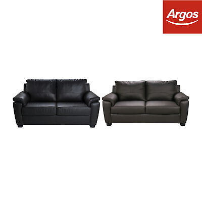 Argos Home Antonio Leather & Leather Effect Double Sofa Bed Black / Brown