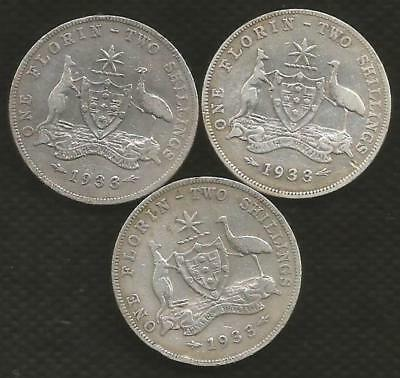 1933 Florin X 3 - George V - *key Date* - Circulated Condition