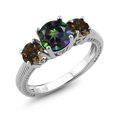 2.22 Ct Round Green Mystic Topaz Brown Smoky Quartz 925 Sterling Silver Ring