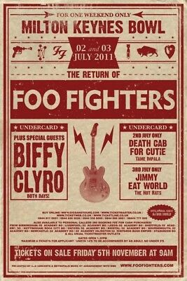 Foo Fighters Tour 2011 Milton Keynes Bowl  Poster Fridge Magnet