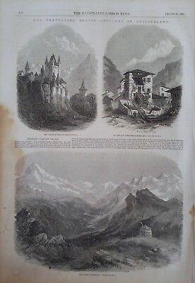 1856 Print Castle Of Thun - St Niklaus,After An Earthquake - Valley Of Zermatt