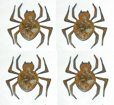 """Lot of 4 Spider Shapes Insect Bug 3"""" Rusty Metal Vintage Craft Sign Ornament"""