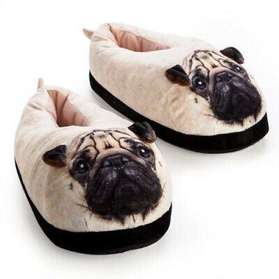Pug Womens Mens Plush Winter Animal Indoor Slippers for Feet