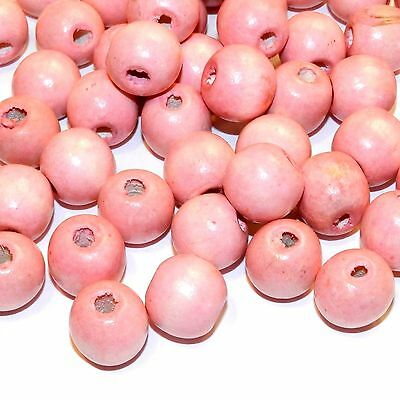 W738 Pink 18mm Semi- Round Large Wood Beads 100-Grams