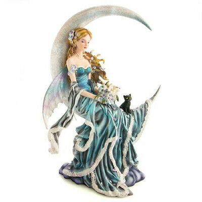Moon Fairy in Blue Dress with Black Kitten and a Colorful Bouquet of Flowers