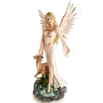 Hand Painted Fairy in Pink Gown with Deer Exquisitely Detailed Mystical Figurine