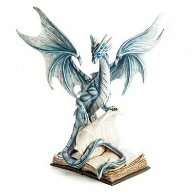 Large Blue Dragon Standing On An Open Ancient Book Stunning Decorative Figurine