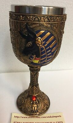 Egyptian Anubis Wine Goblet God Of The Dead Afterlife Wine Chalice 6oz Scarab