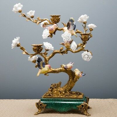 Porcelain And Bronze Bird In Branches Candelabra Candlestick
