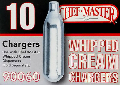 NEW Chef Master Dispenser Whipped Cream Chargers N2O, 10-Pack 90060