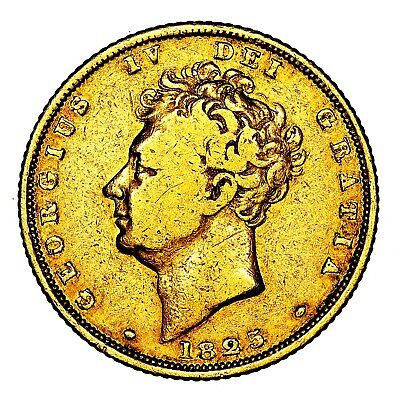 Scarce 1825 King George IV IIII Great Britain London Gold Sovereign Coin