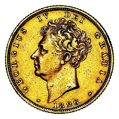 1826 King George IV IIII Great Britain London Gold Sovereign Coin