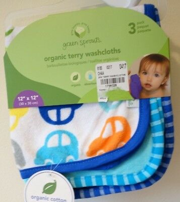 Brand New Green Sprouts Organic Terry Washcloths 3 Pack