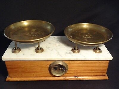 Antique Apothecary Scale - P. Venti Chilog Marble, Maple Wood, Brass 1880's