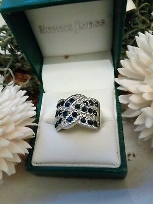 ***sale*** Stunning Sterling Silver Triple Band Sapphire Ring Size R