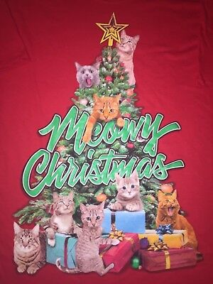 SANTA Claus Christmas Tree ornament KITTY Cat Kitten Tabby Calico MEN'S T-Shirt