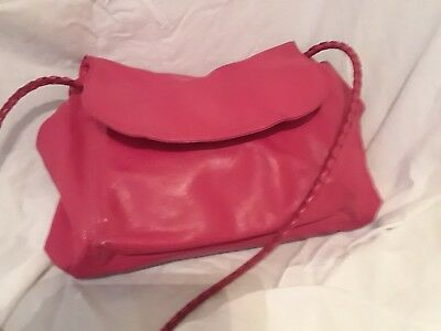 Vtg BOTTEGA VENETA braid crossbody red messenger BAG HANDBAG large flap d8c3d96fd82b7