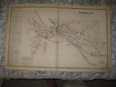 Antique 1873 Addison City Steuben County New York Handcolored Map Rare Superb Nr