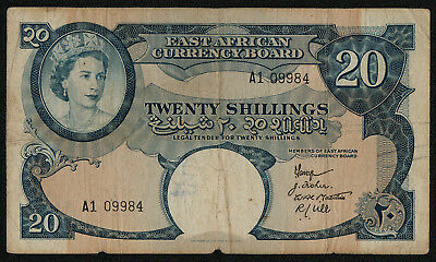 EAST AFRICA (P39a) 20 Shillings ND(1958) F+