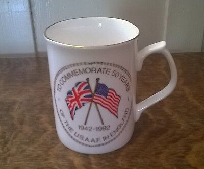 Limited edition bone china mug commemorating 50 years of USA.A.F in England