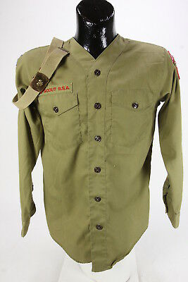 Vintage BSA Boy Scouts Of America Youth Sized Collarless Shirt Green & Belt
