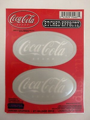 Set of 2 Coca-Cola Stickers w/ Etched Glass Effect Translucent Coke Decals