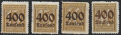 Stamp Germany Reich Mi 297-300 Sc 273-6 1923 Inflation Number Rectangle MNH
