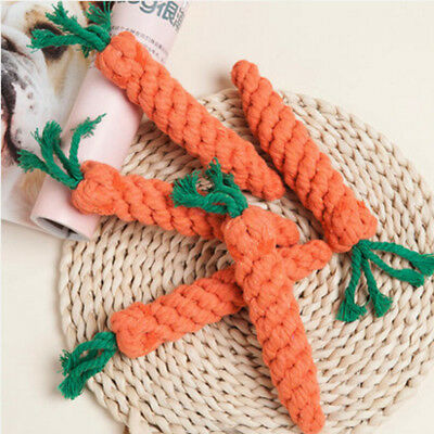 1Pc Pet Puppy Dog Chew Toys Cotton Rope Carrot Teeth Cleaning Braided Knots Toy