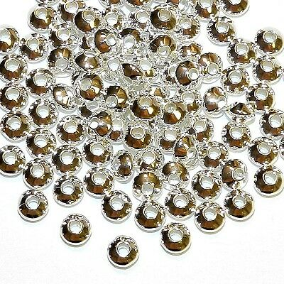MB7269 Bright Silver 5mm Bicone Rondelle Plated Brass Metal Spacer Beads 100pc