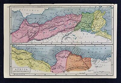 1908 Classical Map Ancient North Africa Roman Carthage Mauritania Morocco Tunis