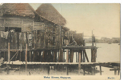 Asia Singapore Malay Houses Vintage Postcard