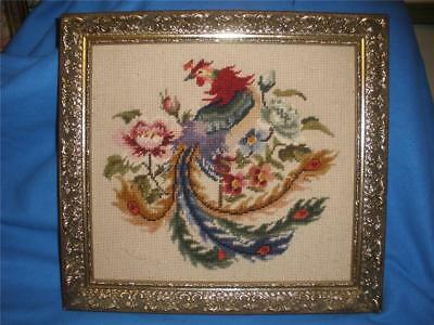 Stunning Hand Worked Framed Tapestry Oriental Peacock