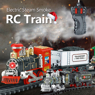 Electric Steam Smoke RC Train Carriage Toys Model Kids Christmas Gifts Presents