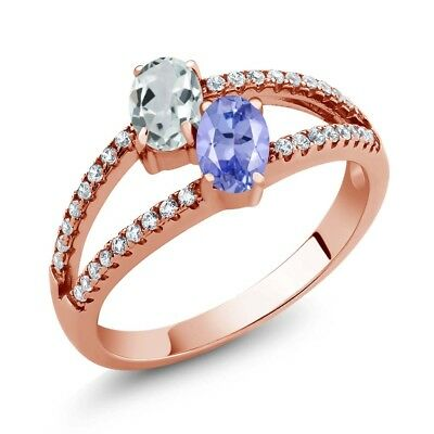 1.29 Ct Sky Blue Aquamarine Tanzanite Two Stone 18K Rose Gold Plated Silver Ring