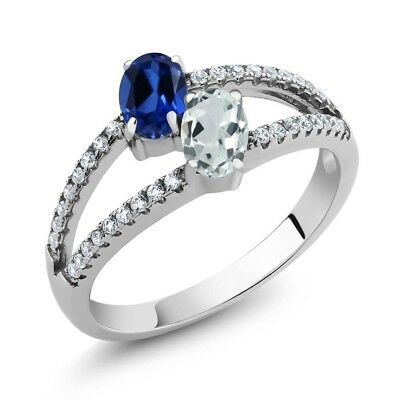 1.34 Ct Blue Simulated Sapphire Sky Blue Aquamarine Two Stone 925 Silver Ring