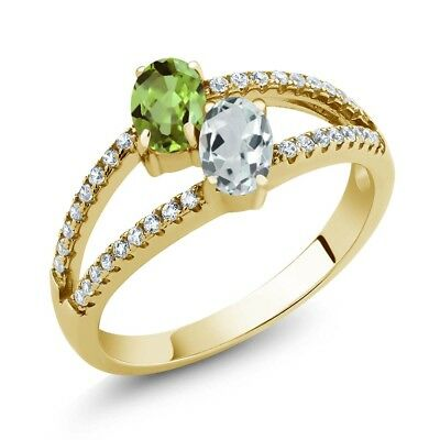 1.34 Ct Peridot Sky Blue Aquamarine Two Stone 18K Yellow Gold Plated Silver Ring