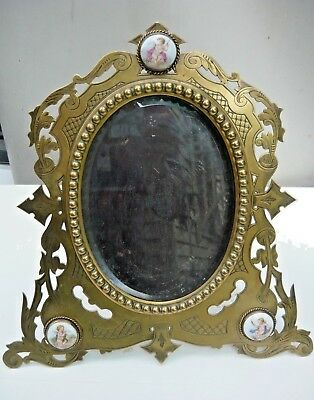 Victorian solid brass Batson picture frame - ceramic decor, bevelled edge glass