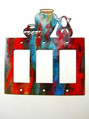 Southwest Pueblo Pottery Triple Rocker Outlet Cover Plate by Steel Images USA A