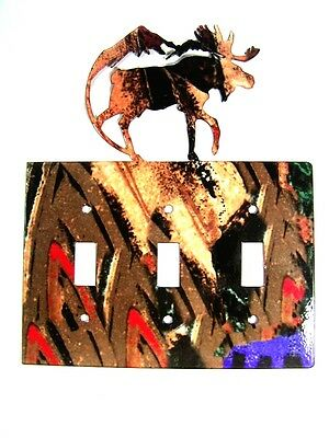 Moose & Mountain Triple Light Switch Plate by Steel Images Made In USA 6215uu