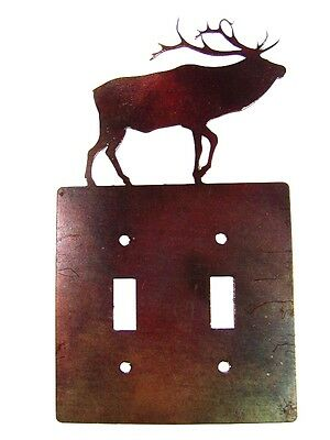 Reindeer Double Light Switch Cover Plate Steel Images USA 6215WW